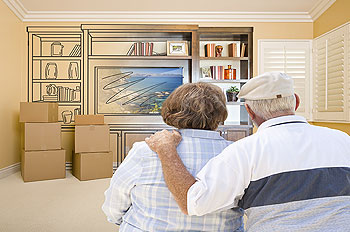 senior couple envisioning a family room