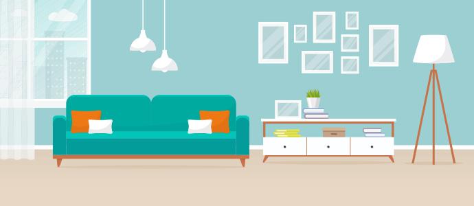 neatly organized living room