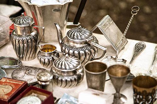 antique silver tea service, goblets, silverware